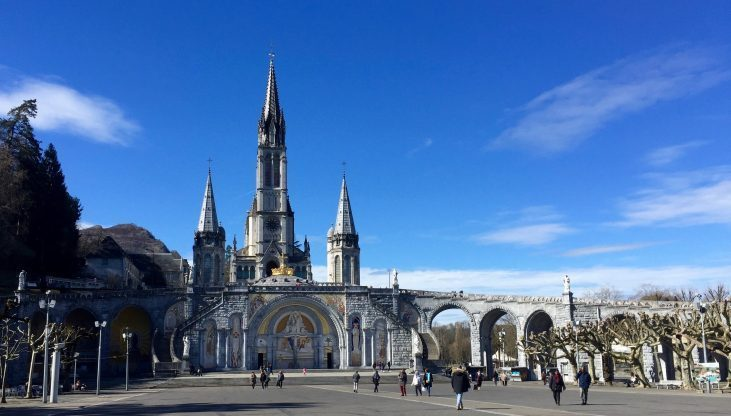 The large square in front of the Sanctuary of our Lady of Lourdes in France