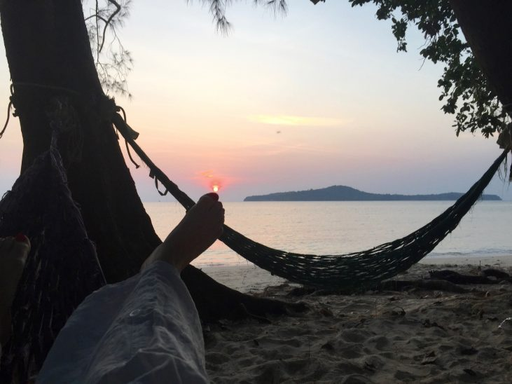 Sunset in the hammock at Koh Ta Kiev