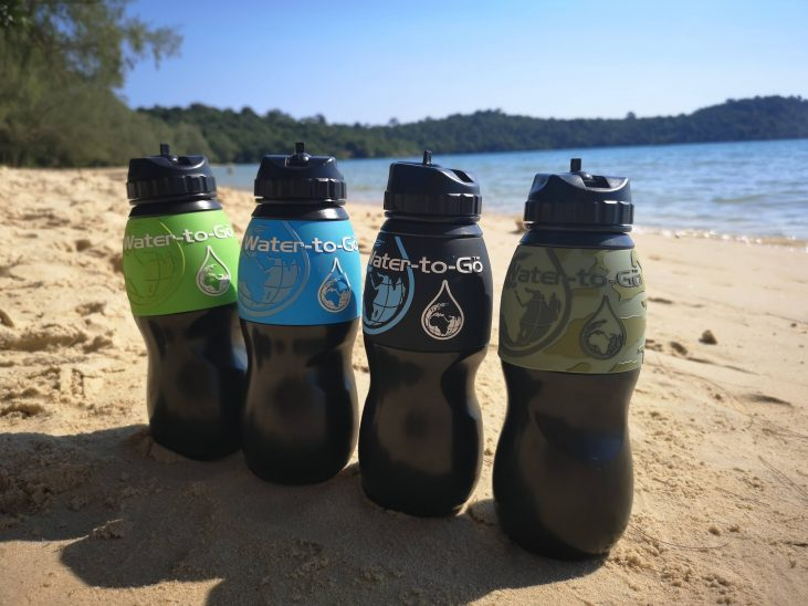 Water-To-Go bottles on Koh Ta Kiev Beach